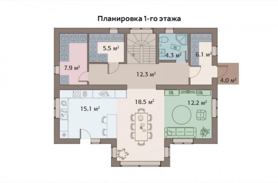 На фото - пример планировки 1 этажа мастер-дома
